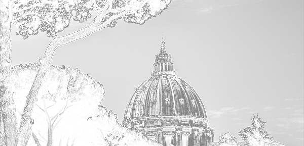 sketch of Vatican through trees
