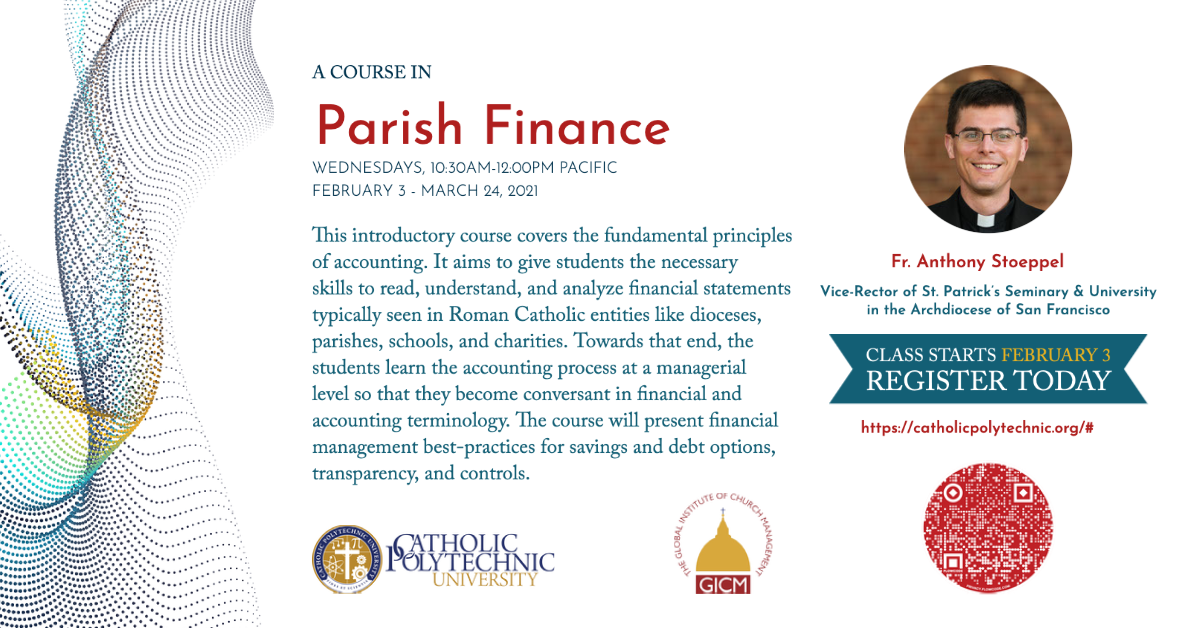 Ad promoting Parish Finance Course starting February 3